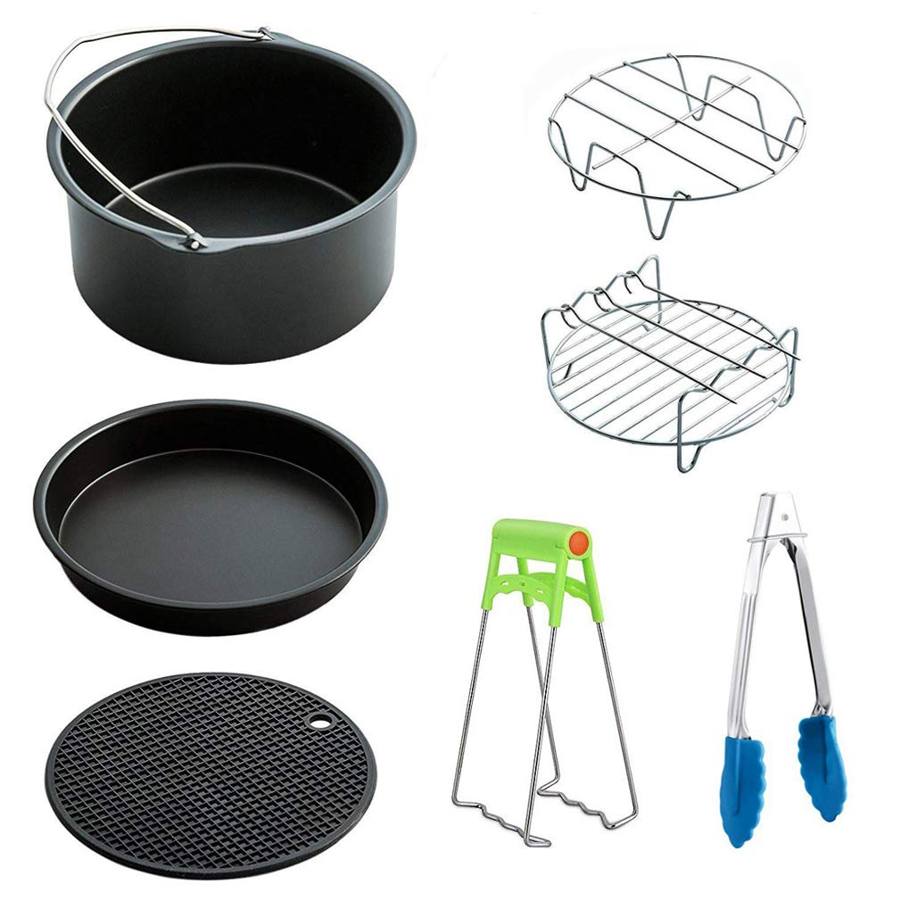 WAYDA Air Fryer Accessories, 7 Pcs Deep Fryer Accessories Kit for Gowise, Phillips, Cozyna and Ninja, 7 inch Cake Barrel, Pizza Pan Fit All 3.5QT-3.7QT 5.3QT-5.8QT