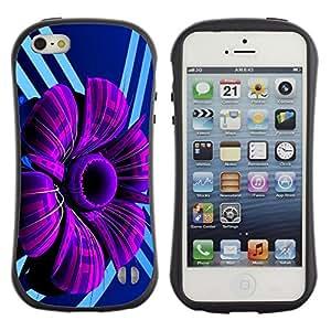 Paccase / Suave TPU GEL Caso Carcasa de Protección Funda para - Purple Abstract Flower - Apple Iphone 5 / 5S