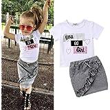 Gyratedream Girls White Bowknot Shirt Long Sleeve Tops Plaid Skirt 2Pcs Clothing Sets School Uniform for 2-7 Years Kids