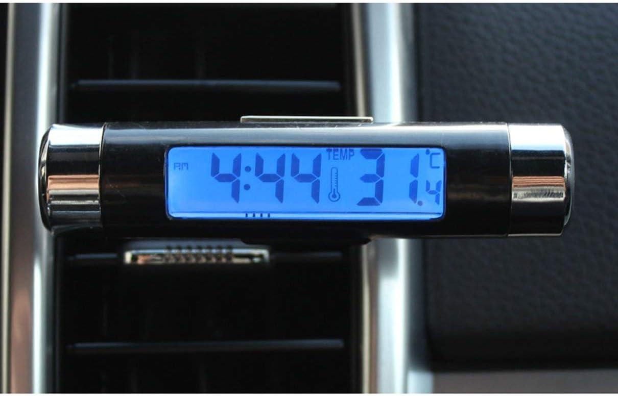 fghfhfgjdfj 2 en 1 Voiture v/éhicule LCD Affichage num/érique thermom/ètre Automobile Horloge Portable Voiture /évent de Sortie dair Clip-on LED r/étro-/éclairage