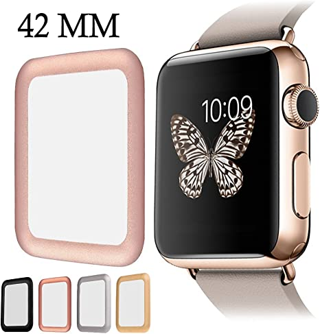 Smartwatch Screen Protector YJan Anti-Smudge Anti-Scratch Bubble-Free Tempered Glass Screen Protector 42mm 2-Pack Easy-Installation Protector Compatible with Apple iWatch Series 1//Series 2//Series 3