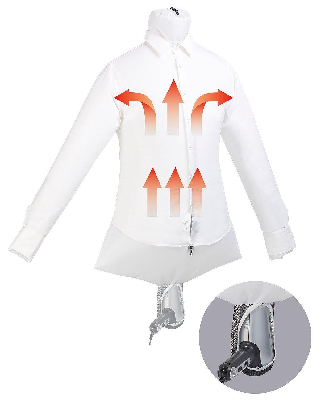 Sichler Haushaltsgeräte Reisebügelpuppe: 2in1-Reise-Bügelpuppe mit Haartrockner-Aufhängung, trocknet & glättet (Bügelhilfe)