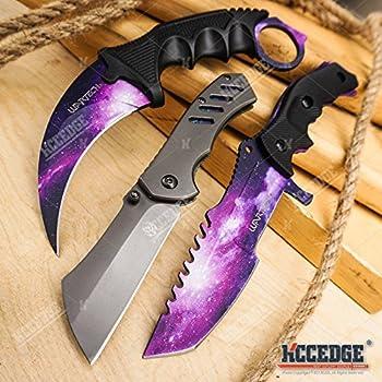 Amazon.com: KCCEDGE - Juego de 4 cuchillos de hoja fija ...