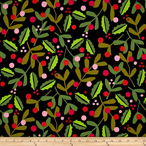 Merry Christmas Fabric (Alexander Henry Christmas Time Merry Mistletoe Black Fabric By The Yard)
