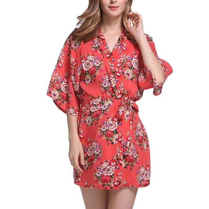 GTKC Kimono Clásico Flores Albornoz Ropa De Dormir Vestido De Fiesta De La Boda Batas: Amazon.es: Ropa y accesorios