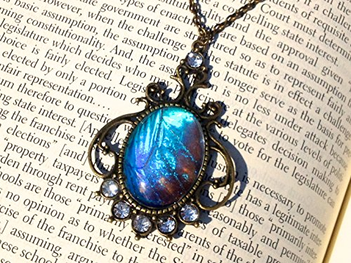 Blue Morpho Butterfly Wings Costume (Real Blue Morpho Butterfly Wing Necklace - Morpho Zephyritis - Insect Jewelry - Turquoise pendant - December Birthstone)