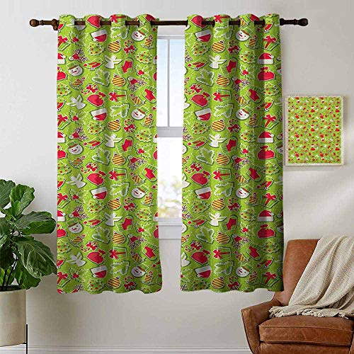 Kitchen Curtains Christmas,Merry Xmas Celebration Cartoon Style Ornaments Snowman Trees Birds, Apple Green Red and White,Rod Pocket Drapes Thermal Insulated Panels Home décor 42