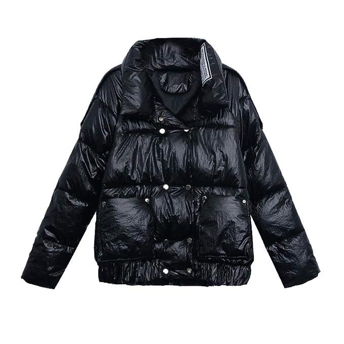 Abrigos Invierno Corto Moda versión Coreana de la Chaqueta Traje de algodón Acolchado Rosa Plateado Negro: Amazon.es: Ropa y accesorios