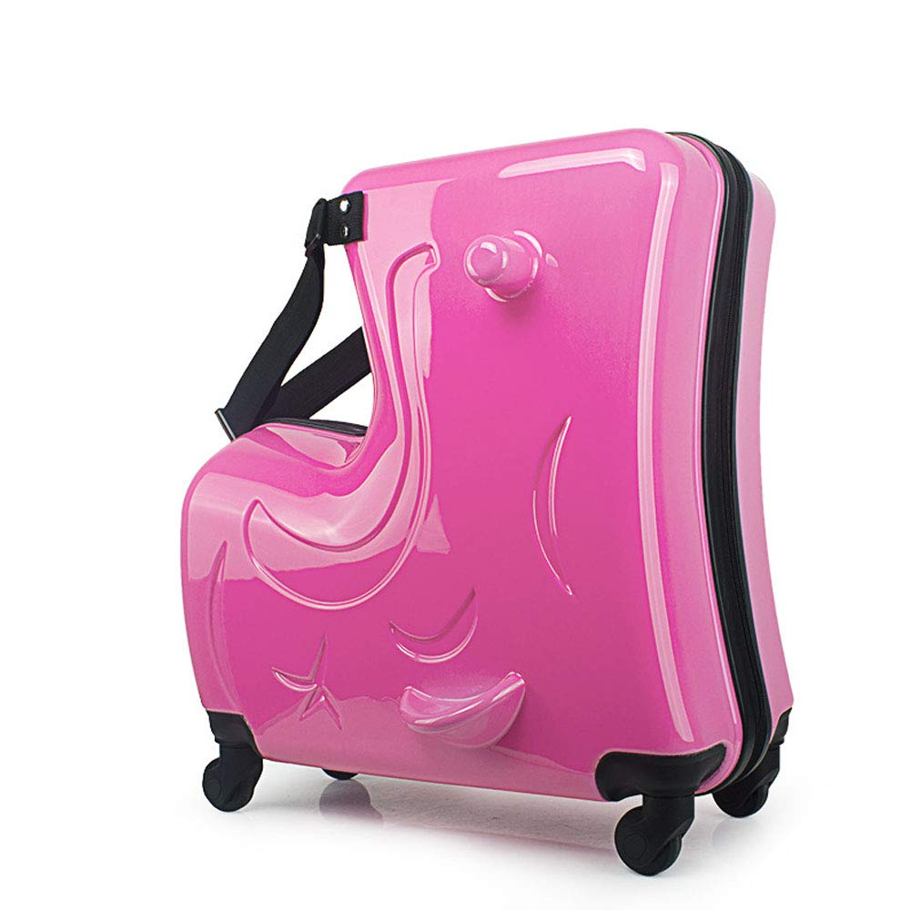 子供用乗り物トロリーケースハードサイド荷物キッズPC搭乗バッグ子供用防水スーツケース B07LD9Q5ZN Pink