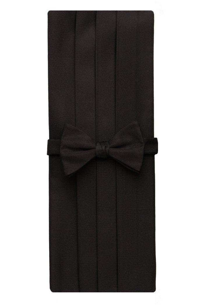 David Donahue Men's Faille Silk Pre-tied Bow Tie Cummerbund Set Black (CP110001)