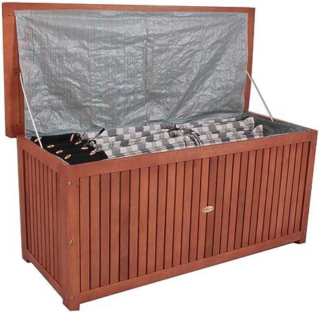 Arcón Caja de madera para jardín cojines – Fregadero Caja de acacia barnizada: Amazon.es: Jardín