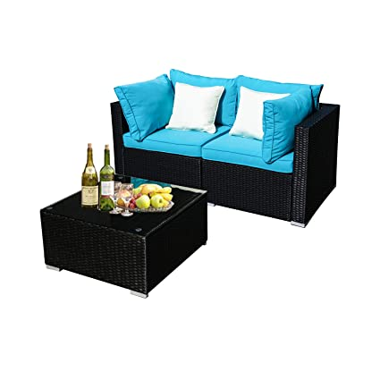 Phenomenal Koolwoom Outdoor Patio Furniture Set Sectional Wicker Sofa Washable Waterproof Pe Cushions Backyard Pool 3 Blue Dailytribune Chair Design For Home Dailytribuneorg