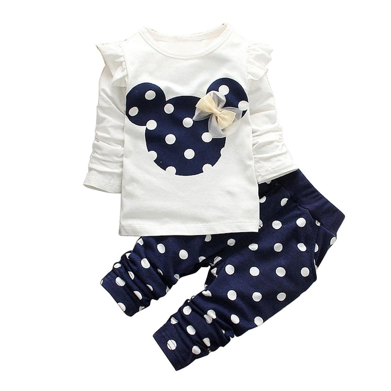 MIOIM® 2pcs Ropa Conjuntos Tops Camiseta Manga Larga Lunares para Bebés Infantil Niñas Camiseta De