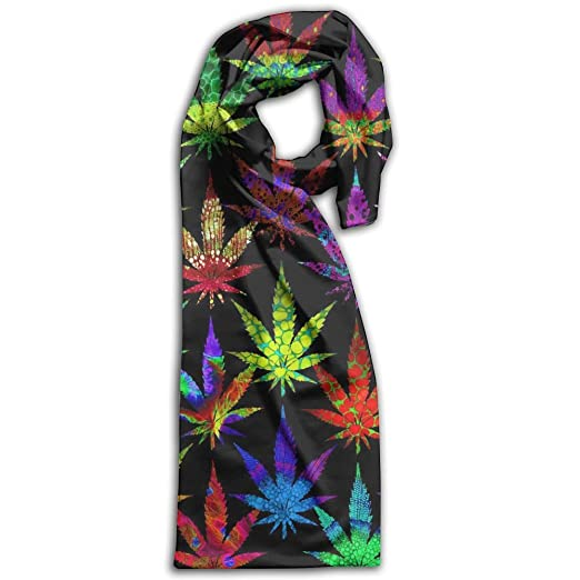 Marijuana Leaf Oblong Extra Long Women Scarf Colorful For Handbag Accessories Unisex Scarves