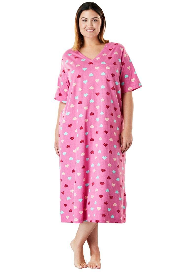 Dreams & Co. Women's Plus Size Long Print Sleepshirt Pink Heart,3X/4X