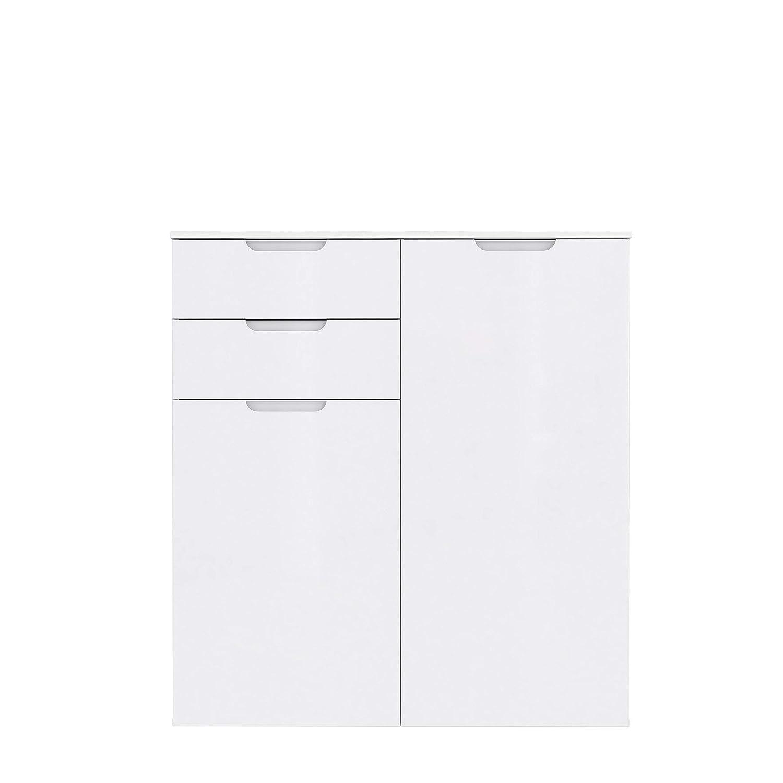 70.3 x 34.1 x 116.9 cm Wei/ß Hochglanz NEWFACE Moderne Kommode mit Hochglanzfront Holz