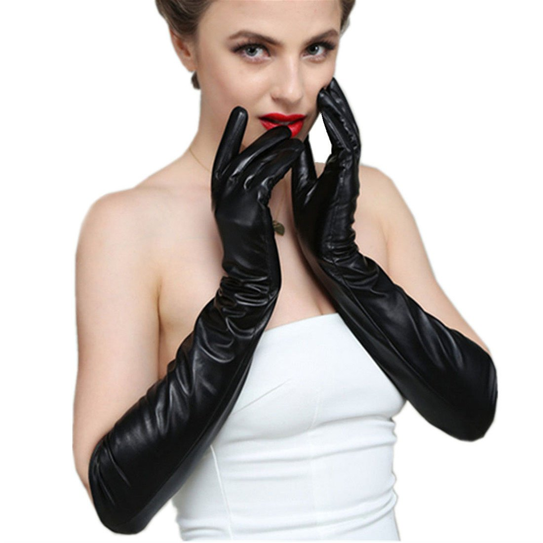 D.King Women Genuine Lambskin Leather Gloves Touchscreen Texting Opera Long Evening Dress Driving Gloves 50CM/L