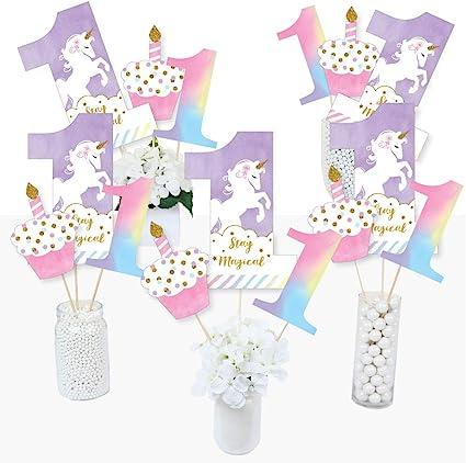 Magical Unicorn Baby Shower or Birthday Party Centerpiece S... Rainbow Unicorn