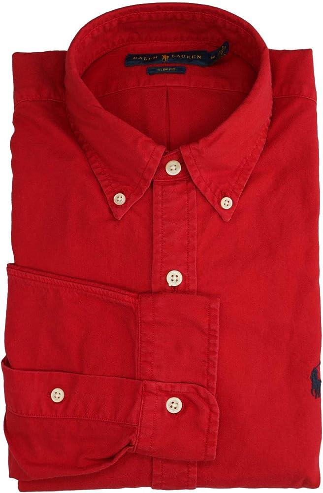 Ralph Lauren Mod. 710767447 Camisa Oxford Lavado Slim Fit Hombre Rojo XL: Amazon.es: Ropa y accesorios