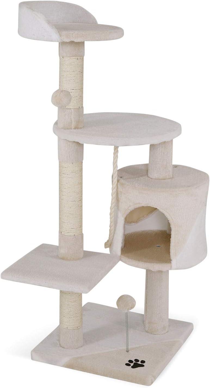 Dibea Centro de Actividades para Gatos, con Poste rascador de 112 cm, Color Beis/Blanco