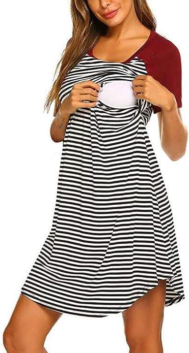 RISTHY Mujer Vestido Premamá de Algodón Rayas Vestidos de Dormir Pijamas Vestido de Maternidad de Lactancia Verano Multifuncional Cuello Redondo Mangas Cortas Midi Vestido: Amazon.es: Ropa y accesorios