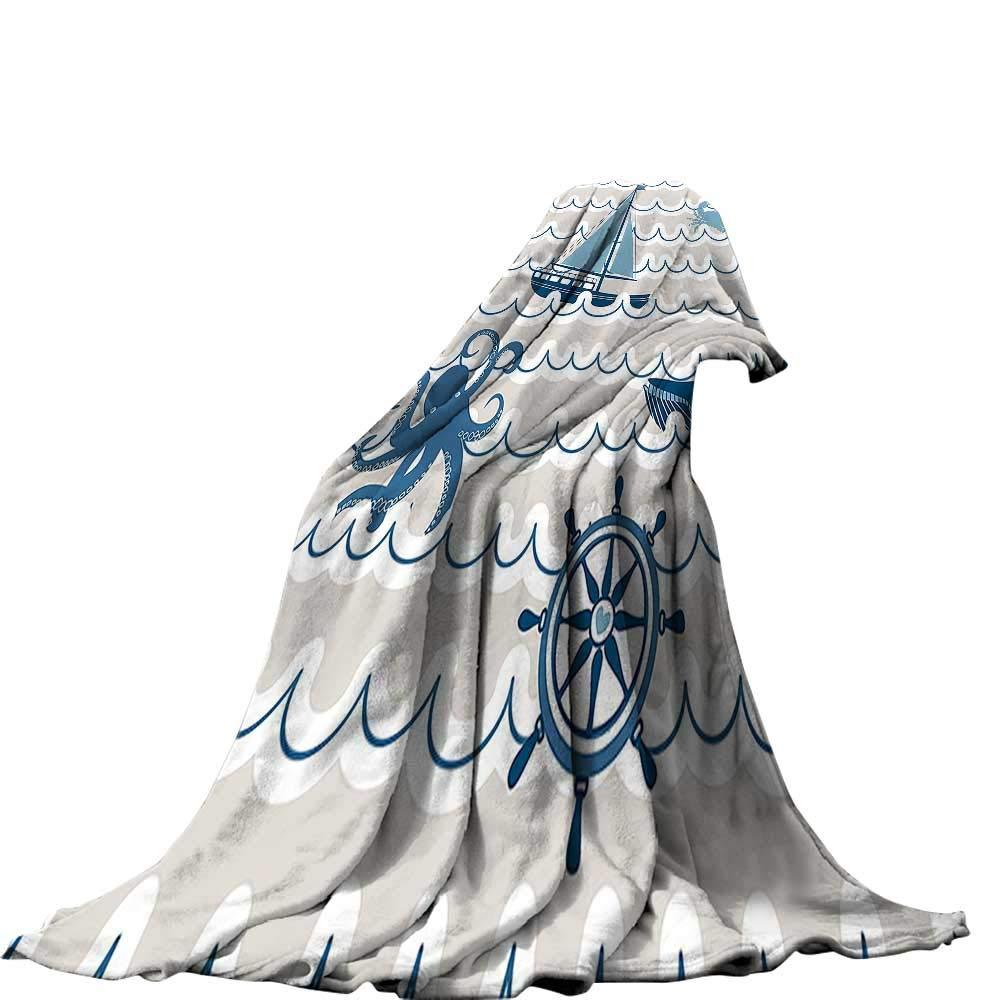 QINYAN-Home デジタルプリントブランケット 50x30インチ ベルベットフラシ天ブランケット 海の装飾 波模様 海の要素の象徴、タコのカニ、ヒトデ、クジラのアートワーク ベージュ ブルー ホワイト 60