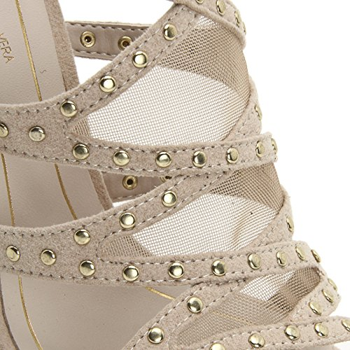 ALESYA by Scarpe&Scarpe - Sandalias altas con aplicaciones de red y tachas Beige