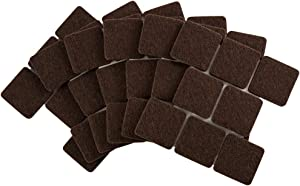 Softtouch 4717695N Self-Stick 1 Inch Square Felt Furniture Pads to Protect Hardwood Flooring from Scratches, 48 Pack, Brown, 48 Piece