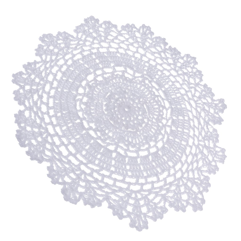 Sharplace 1 Stück Weiß Handmade Häkelarbeit Baumwollspitze Tischsets Deckchen- Weiß - Weiß, 30 cm