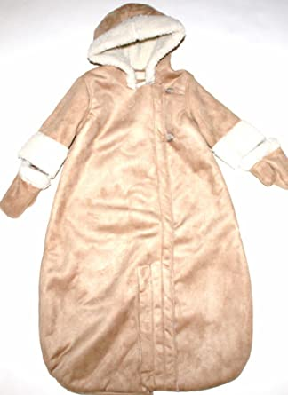 11bb7a470 Baby Gap Infant Boy Girl Brown Faux Suede & Sherpa Convertible Snowsuit Bag  (0-