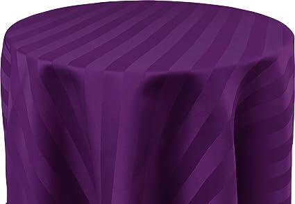 Bright Settings 60 X 108 Inch OVAL Tablecloth, Polystripe   ULTRA WIDE,  Purple
