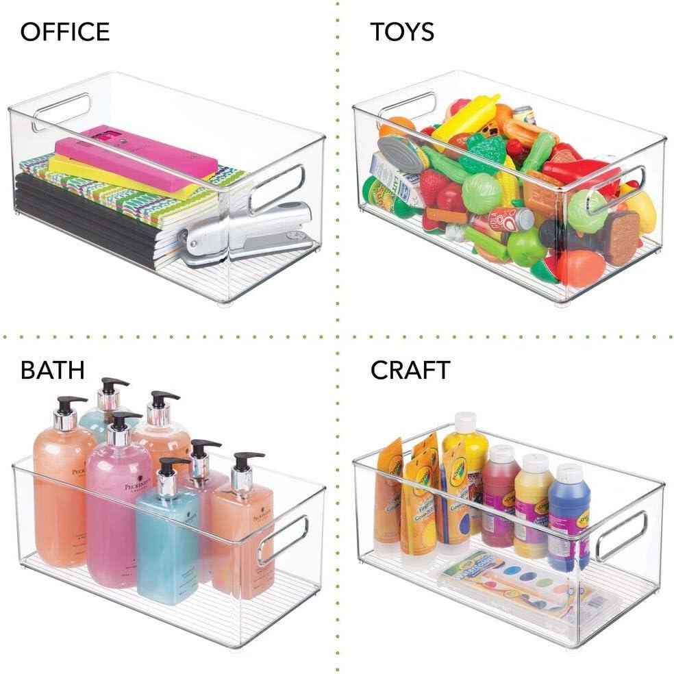 bac de rangement en plastique avec un grand compartiment pour les jouets mDesign rangement chambre enfant transparent etc sans couvercle panier de rangement avec poign/ées pratiques lot de 2