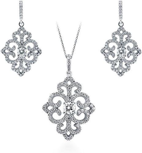 BERRICLE 925 Silver CZ Art Deco Milgrain Bridesmaids Necklace and Earrings Set