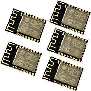 KOOBOOK 5Pcs ESP8266 ESP-12F WiFi Serial Module Microcontroller 802.11N Module Wireless Transceiver Remote Port Network Development Board for Arduino NodeMCU MicroPython