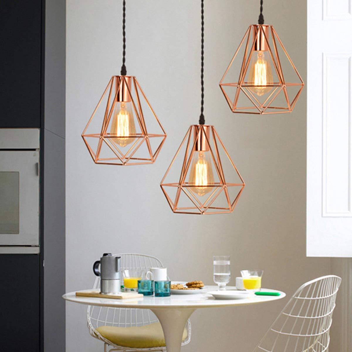 NANGE Modern Chandelier,Personality Plating Rose Gold Pendant Lights,Kitchen Island Table Dining Room Bedroom Entryway Hanging Lamp,E27(Without Light Source) (Color : AC 110V, Size : Gold) by NANGE (Image #6)