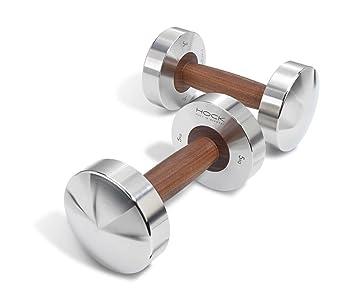 Mancuernas Hock Disco de lujo par 5 kg - Cadena de acero inoxidable/nogal mancuernas para tus Fitness. Pesas par fabricado en Alemania.