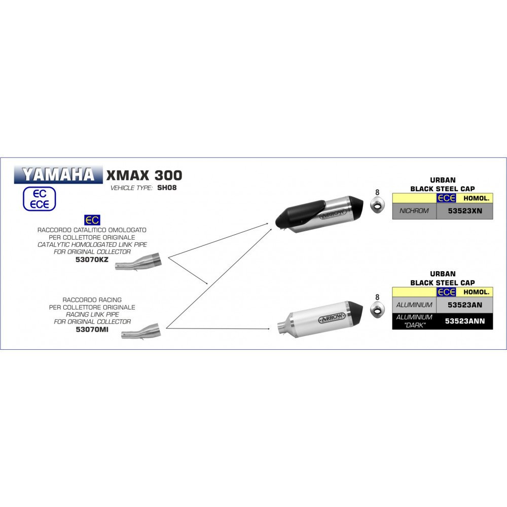 Terminale Urban aluminium Dark avec rembourrage Dark Yamaha X-Max 300/2017/ /2018/53523/Ann
