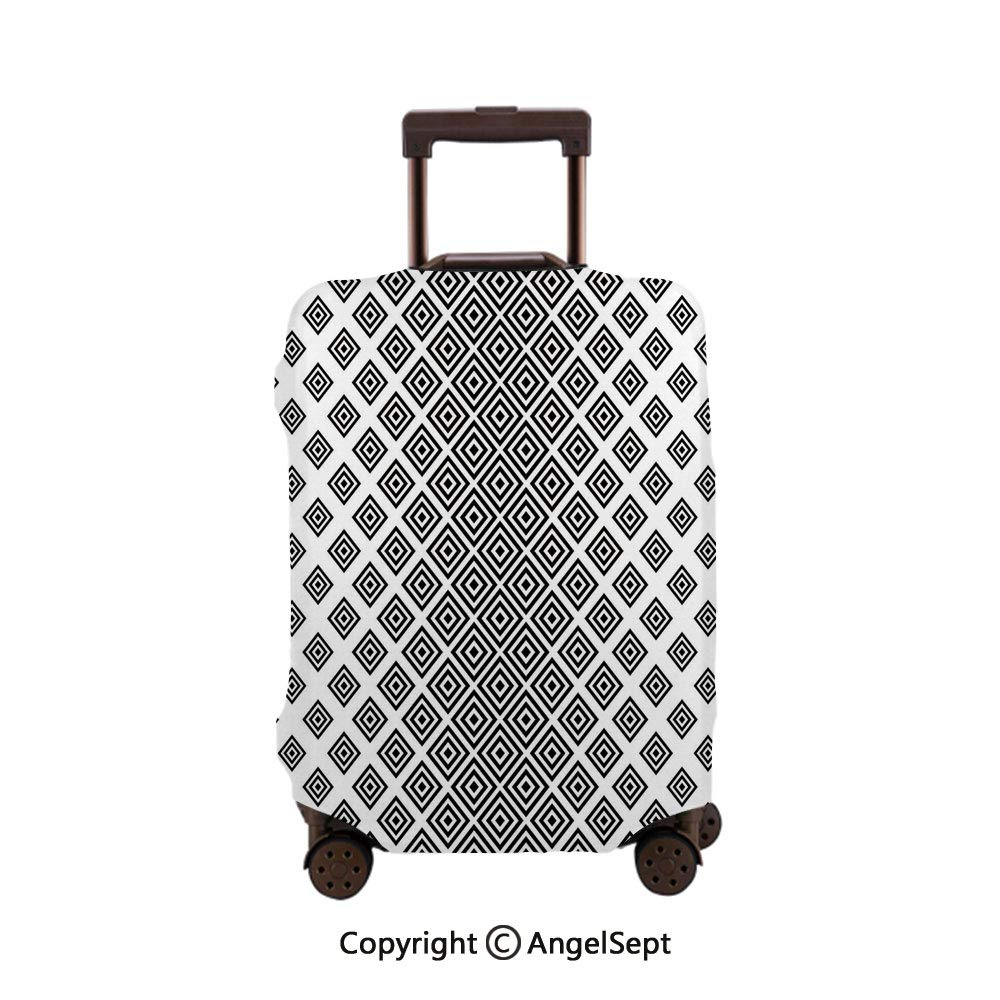 Fashion Travel Suitcase Protector Zipper,Vertical Square Shaped Geometric Pattern Minimalist Modern Style Trippy Black White,26x37.8inches,Washable Print Luggage Cover