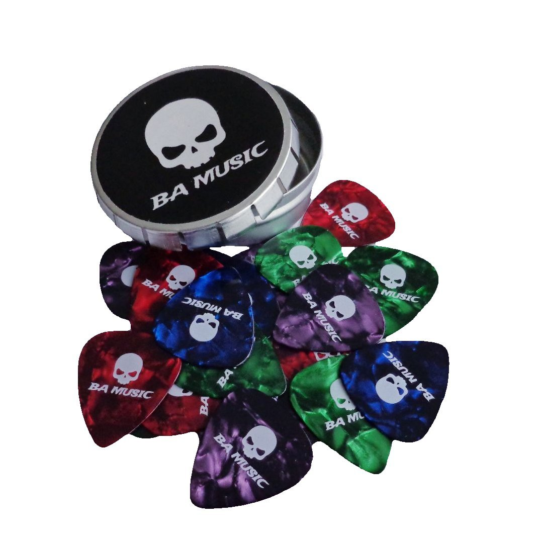 BA Music Premium Pearl Celluloid Skull Guitar Picks 20 Pack (4 Colors) (Thin 0.46mm)
