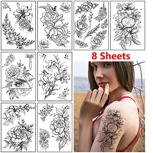Sexy Flower Temporary Tattoo for Women Girls,Realistic Waterproof Tattoo Stickers (8 Sheets Black Rose Flowers Collection)