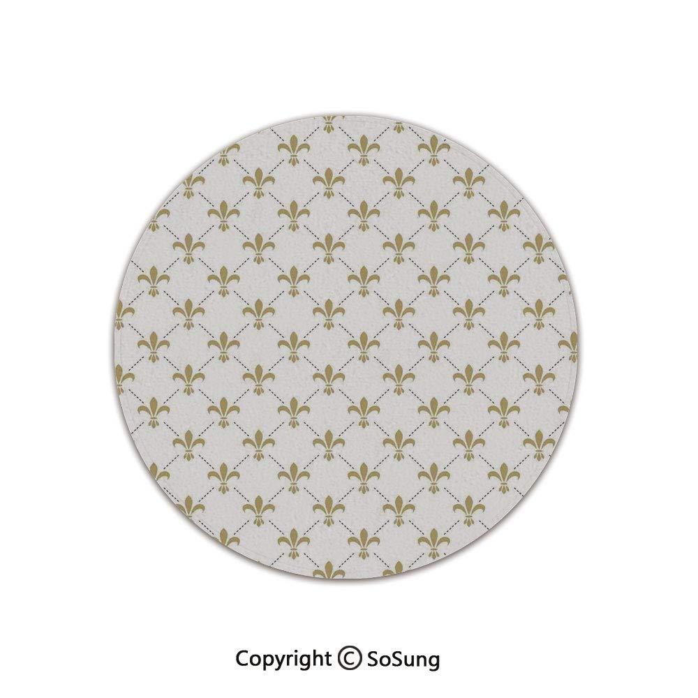 Fleur De Lis Decor Round Area Rug,Fleur De Lis Pattern Vintage Stylized Lily Flower Royal Symbol Artistic Design,for Living Room Bedroom Dining Room,Round 5'x 5',White Gold by SoSung