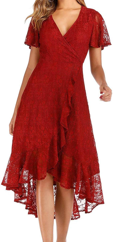 SALUCIA Damen Wickel Lang Spitze Kleid Elegant Sexy V Ausschnitt