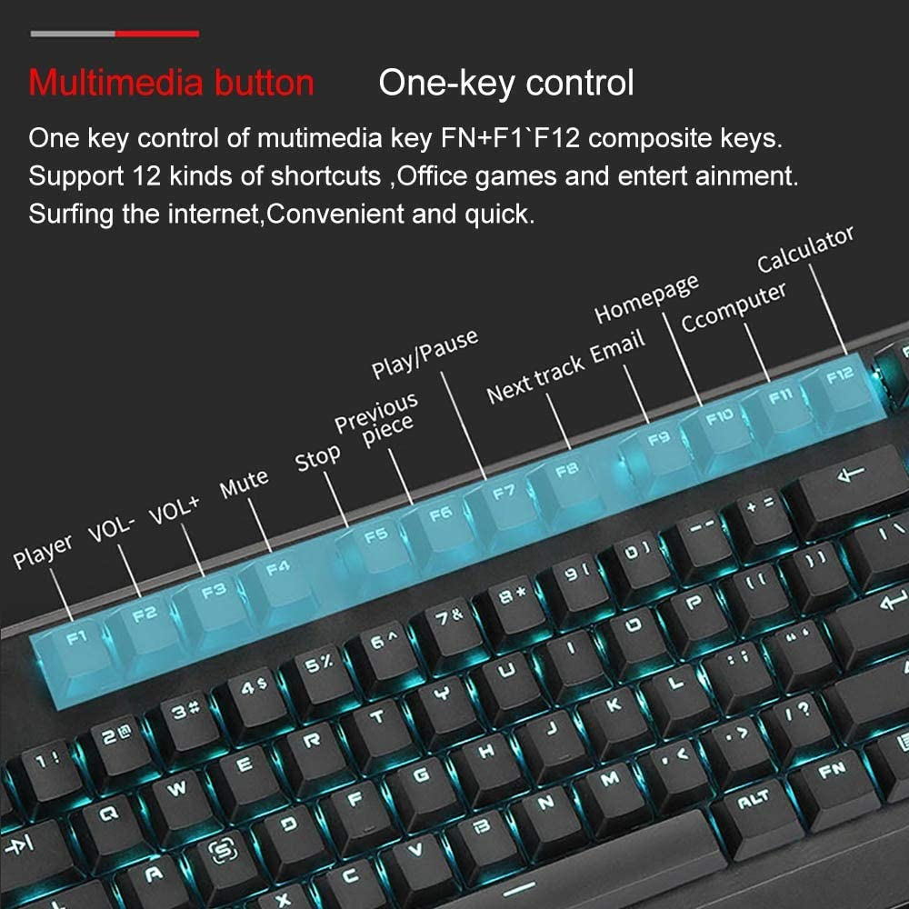DEPRQ Mechanical Gaming Keyboard Mechanical Keyboard Color : Photo Color, Size : One Size 104 Key Outemu Switch Ice Blue Backlit Mechanical Gaming Keyboard USB Wired Computer Keyboard