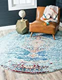 Unique Loom Vita Collection Traditional Over-Dyed Vintage Turquoise Round Rug (4' x 4')