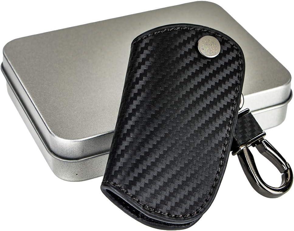 AeroBon AB-2 Full Black Matte Carbon Fiber Pattern Leather Keychain//Remote Fob Key Holder Compatible with BMW Key