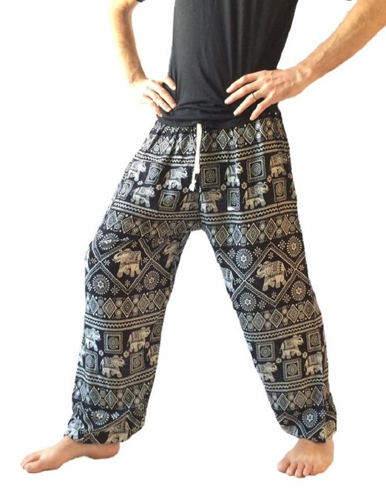 Love Quality Men's Baggy Printed Harem Pants (Black) by Love Quality (Image #2)