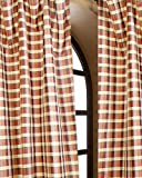 Cheap 3 toned 1″ gingham checks faux silk dupion Living room window curtain panel drape 52″ wide (52″W X 120″L, gold red brown)