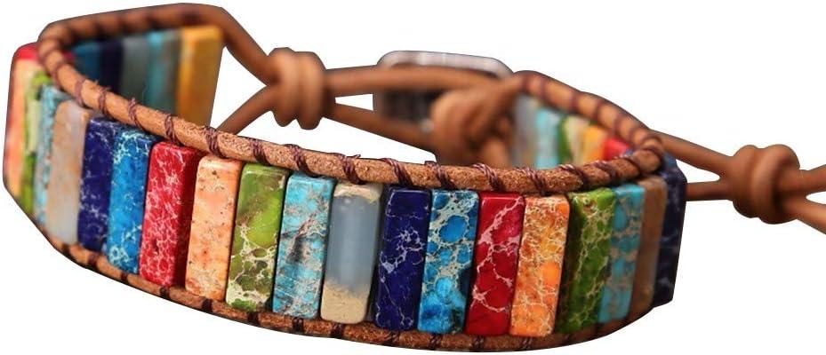 WARMWORD Mujer Hombre Pulsera de Cuero 7 Chakra Chakra de Cuero Hecho a Mano Imperial Jasper Wrap Pulsera de Cuentas Ajustable Pulsera Popular Pulsera Abalorios Pulseras Creativos