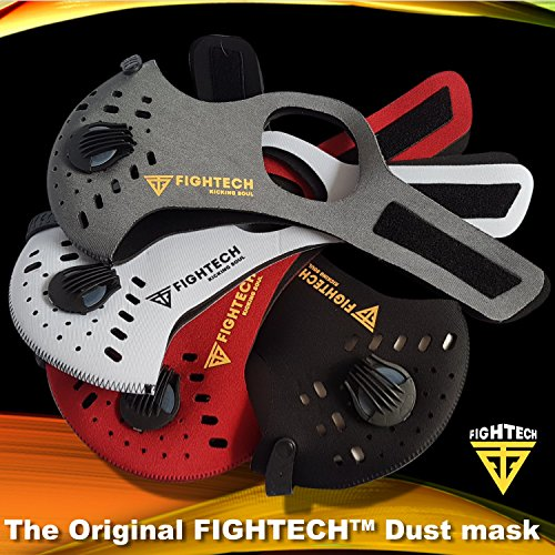 Anti-Pollution Dustproof/Dust Mask with 2 Valves and 4 Activated Carbon N99 Filters. Filtration of Exhaust Gas, Pollen Allergy and PM2.5. Cycling Face Mask for Outdoor Activities by FIGHTECH (BLK) by FIGHTECH (Image #5)