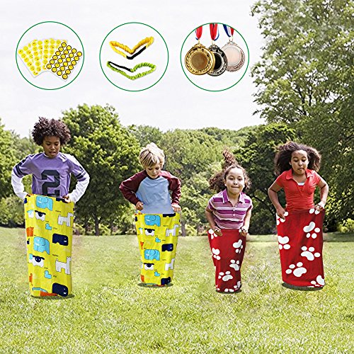 REAMIC Outdoor Sports Jumping Games Bag Jump Bag Balance Training Toy Birthday Party Game for Kids+2-Pack 3-Legged Race Bands+3-Pack Olympic Style Winner Medals by REAMIC